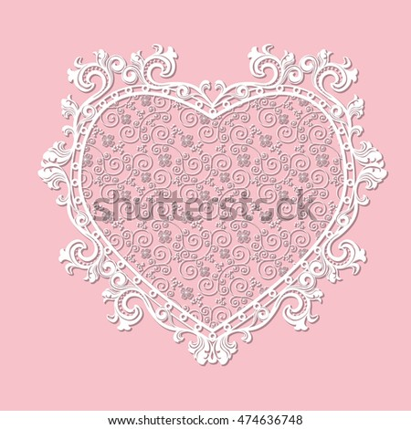 Frame Heart Shaped Paper For Picture Or Photo With Shadow On Pink