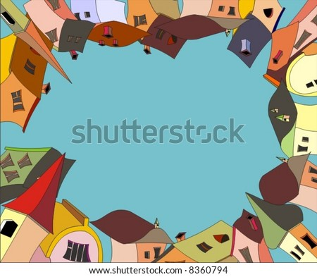 frame. houses in vector