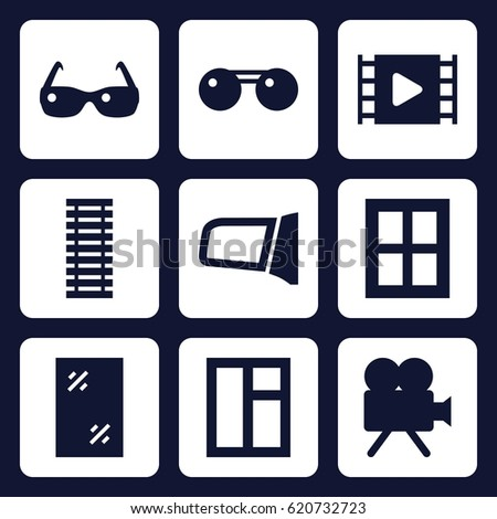 frame icon set of 9 filled