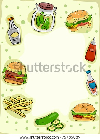 Frame Illustration Featuring Hamburgers and Pickles