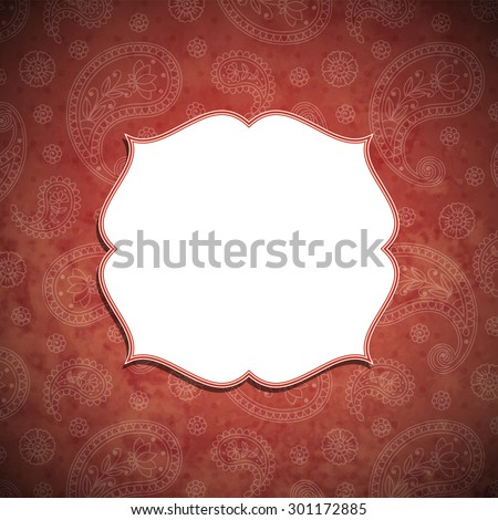 Frame in the Indian style in the background with paisley pattern. Vector illustration.