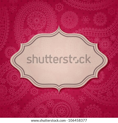 Frame in the Indian style in the background with paisley pattern Vector illustration Eps10
