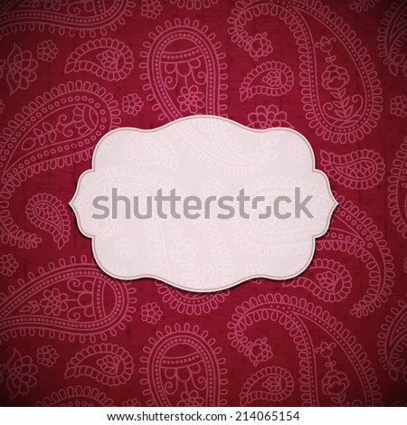 Frame in the Indian style on the textured background with paisley pattern. Vector illustration. Eps10