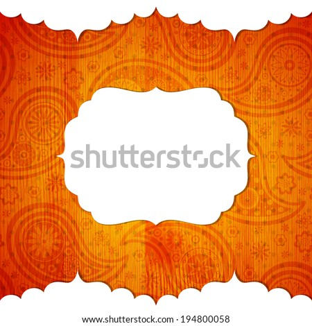 Frame in the Indian style on the wooden background with paisley pattern. Vector illustration. Eps10 (Transparency effects).