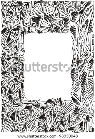 frame is hand-painted, graphic, children, black and white