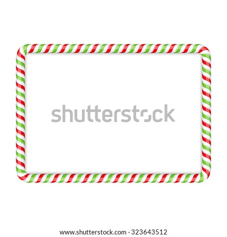 Frame made of candy cane, red and green colors, vector eps10 illustration