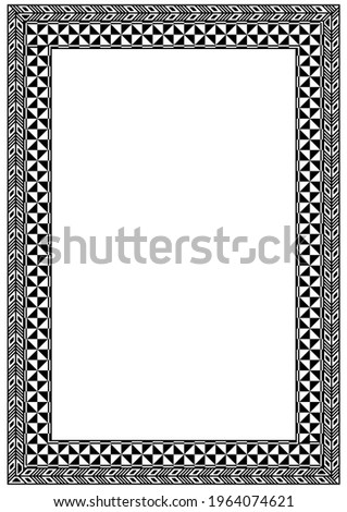Frame made of pattern inspired by Fiji and Pacific Islands traditional design elements. Zdjęcia stock ©