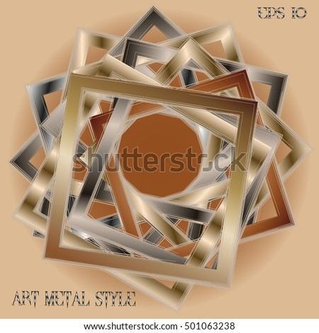 Frame metal style Abstract designer image many object square with sets efekt handmade work of the author's background text vector illustration eps10 stock Zdjęcia stock ©
