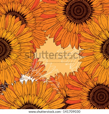 frame of abstract flowers sunflowers