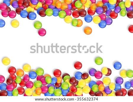frame of candies with a white