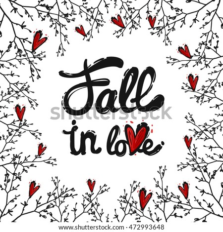 frame of cute elements fall in love lettering double twig red heart