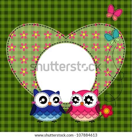 Frame of cute owls