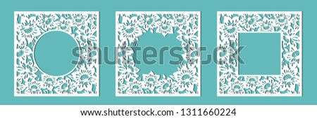 Frame of daffodils. A set of floral frames for cutting out of paper, laser or plotter. Vector