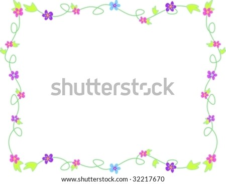 Frame of Delicate Flowers and Frames Vector | EZ Canvas