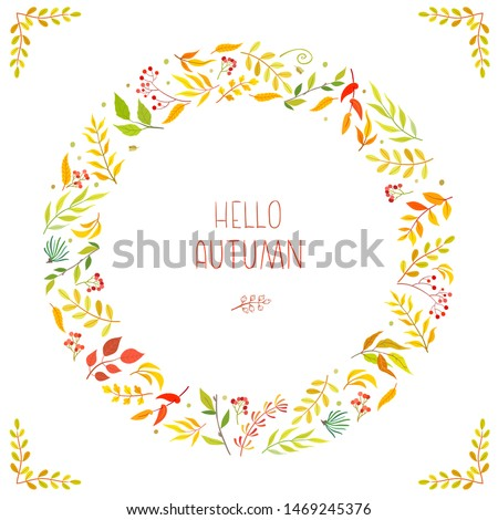 Frame of floral branch, wreaths. Autumn concept. Floral poster, invite. Vector arrangements for greeting card or invitation design background