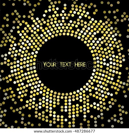 Frame of golden circles on dark background. Vector illustration disco luxury celebrity style