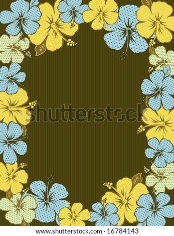 frame of hibiscus on brown background, vector