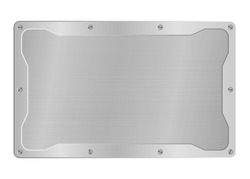 frame of metal on aluminium plate or steel background, metallic border vector illustration