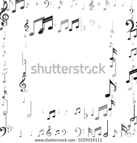 Frame of Music Note Signs and Symbols. Dance Party Poster Pattern ...
