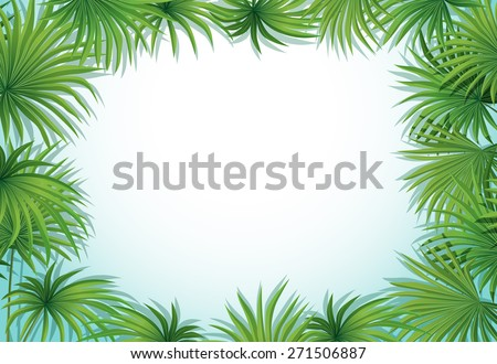 Frame of palm leaves on white background
