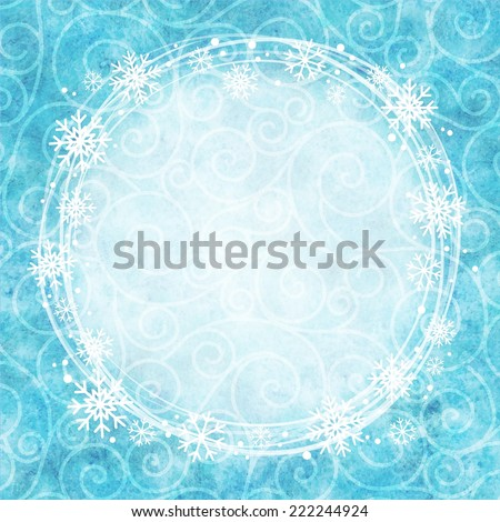 Frame of snowflakes on a watercolor background. Vector