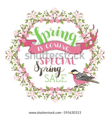 Frame of spring blossoms on branches. Handwritten grunge brush lettering. Vector card template. There is copyspace for your text in the center.