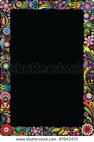 Frame of the colors on a black background