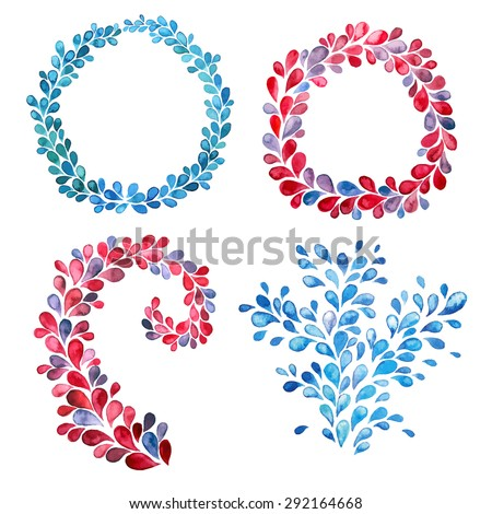 Stock Photo Frame of watercolor drops set, red and blue colors. Twirl of watercolor drops.