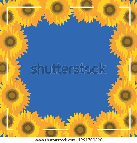 Frame of yellow sunflowers on the blue background