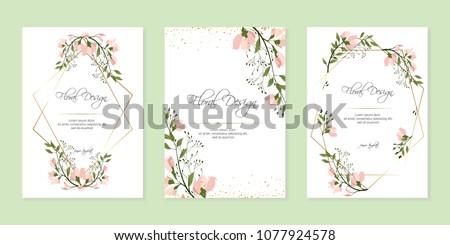 Frame on flower background. Wedding Invitation, modern card Design. geometric golden frame print. eps 10. #1077924578