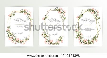 Frame on flower background. Wedding Invitation, modern card Design. geometric golden frame print. eps 10. #1240124398