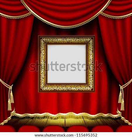 Frame on the background of red theater stage curtains. Mesh.EPS10.Clipping Mask.This file contains transparency.