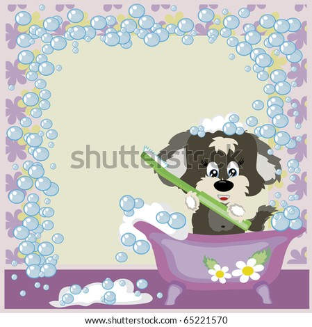 Frame:Puppy in the bathroom with brush to the teeth..