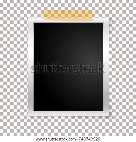 Frame retro photo on transparent background. Vintage vertical blank old photography on sticky tape. Vector