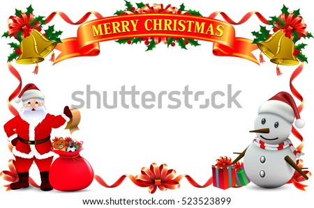 Frame Ribbon Of Smiling Snowman And Santa Clause, High Detailed Vector  Illustration ,Happy Merry
