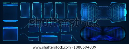 Frame Sci HUD. Vector futuristic screens for GUI, UI design. Set titles, virtual reality cyberspace, frame screens and other. Hi-tech callout bar labels, digital templates. HUD windows collection