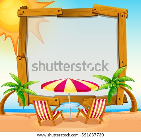 Frame template with beach in background illustration