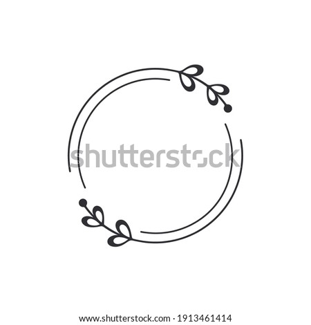 Frame template. Wreath. Round frame with vine. Hand drawn floral wreaths. Vector hand drawn design element. Wreath with heart. Leaf wreath. Logo template. Plant frame. Flowers frame. Round border.