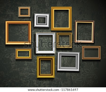 Frame vector. Photo or picture art on vintage wall