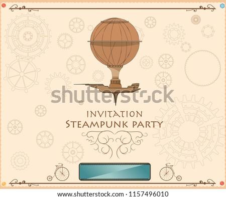 frame vintage steampunk airship