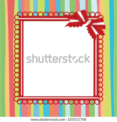 frame with a bow on a striped background