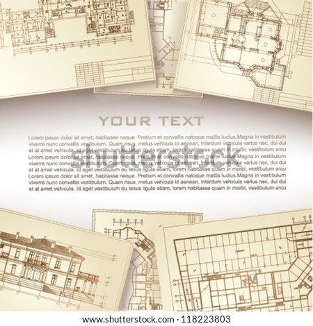 Frame with architectural design elements - stock vector