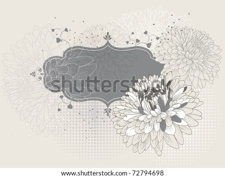Frame with blooming chrysanthemums eps10