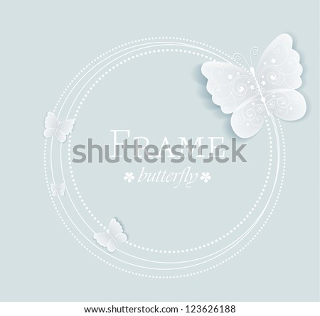 frame with butterflies on a gray background