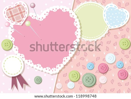 frame with buttons, paper and patches - stock vector