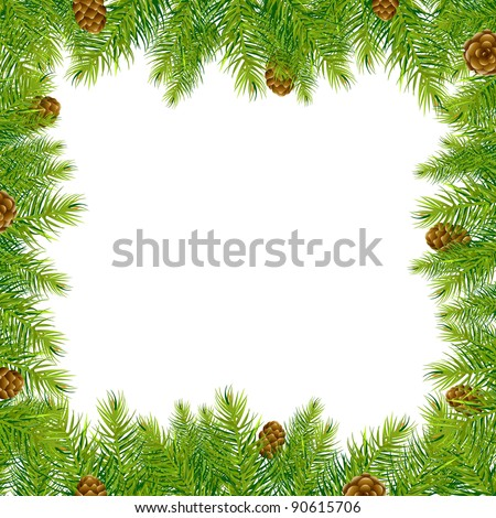 Frame With Christmas Tree And Pine Cone, Vector Illustration