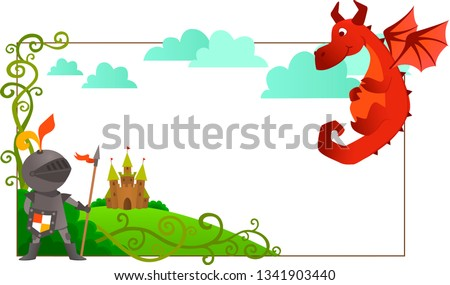 frame with dragon and knight