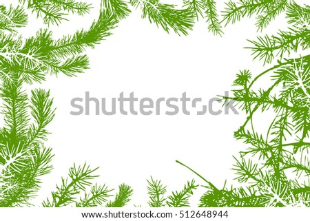 Frame with fir branches. Vector