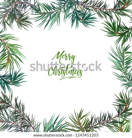Frame with fir tree. Perfect for New Year and Christmas. Vector illustration, EPS 10. #1243451203
