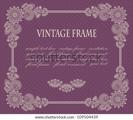 Frame with floral decoration on a violet background with polka dots